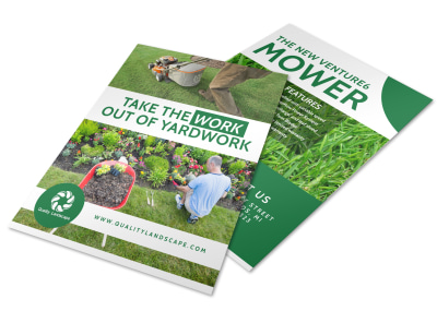 Lawn Mower About Us Flyer Template preview