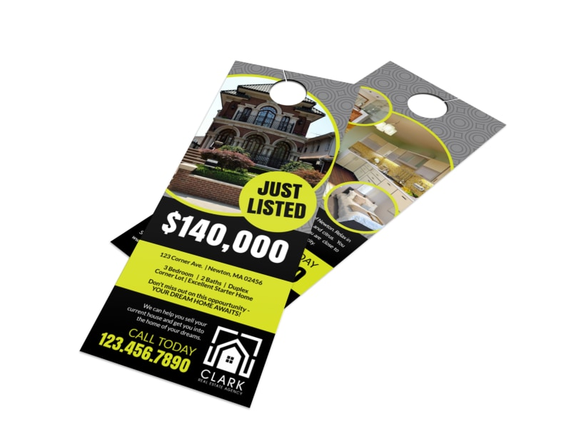 Home Just Listed Door Hanger Template