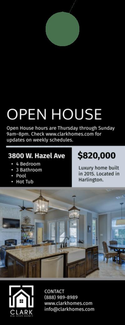 Real Estate Open House Door Hanger Template Preview 2