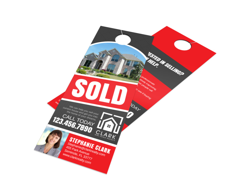 Classic Just Sold Door Hanger Template MyCreativeShop - Real estate just sold flyer templates