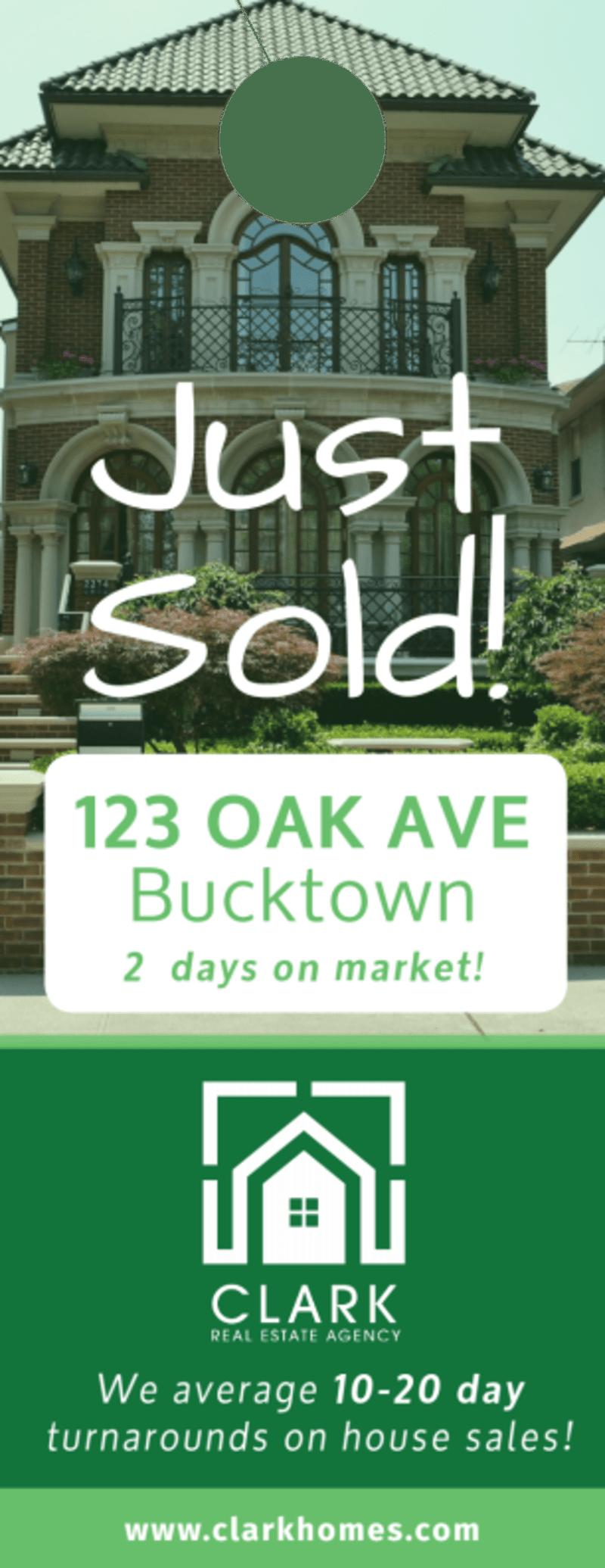 Oak Avenue Just Sold Door Hanger Template Preview 2