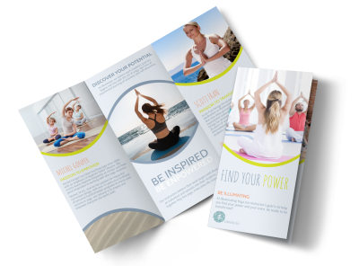Yoga Instructor Info Tri-Fold Brochure Template preview