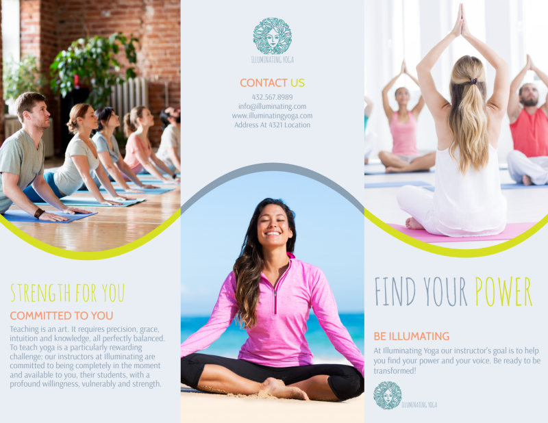 Yoga Instructor Info Tri-Fold Brochure Template Preview 2