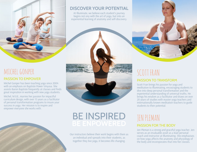 Yoga Instructor Info Tri-Fold Brochure Template Preview 3