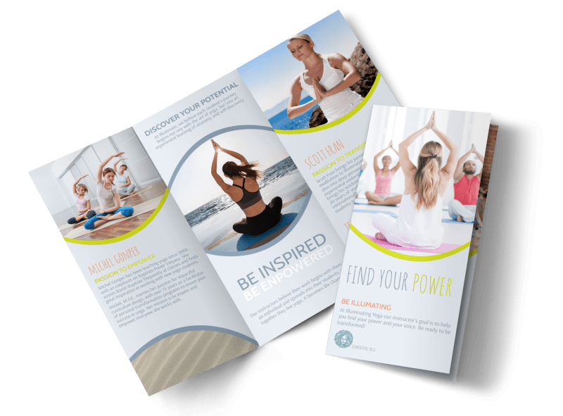 Yoga Instructor Info Tri-Fold Brochure Template Preview 1