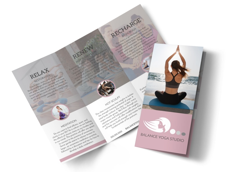 Yoga Class Details Tri-Fold Brochure Template