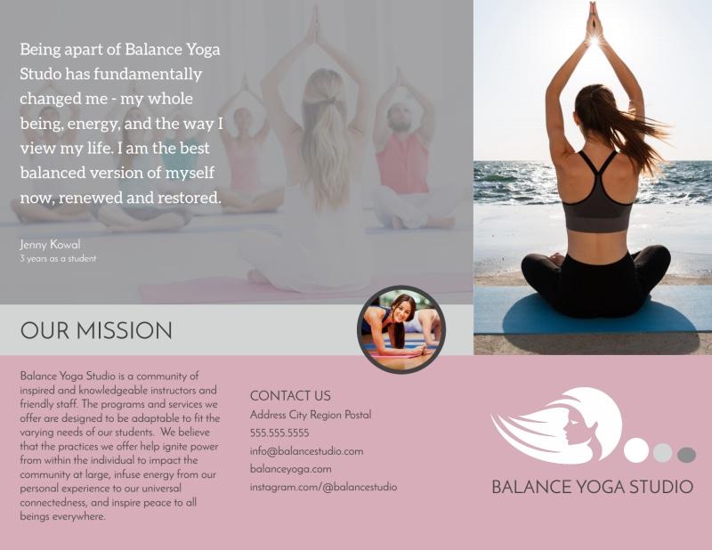 Yoga Class Details Tri-Fold Brochure Template Preview 2
