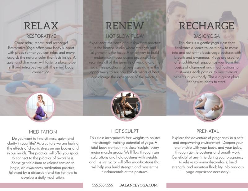 Yoga Class Details Tri-Fold Brochure Template Preview 3