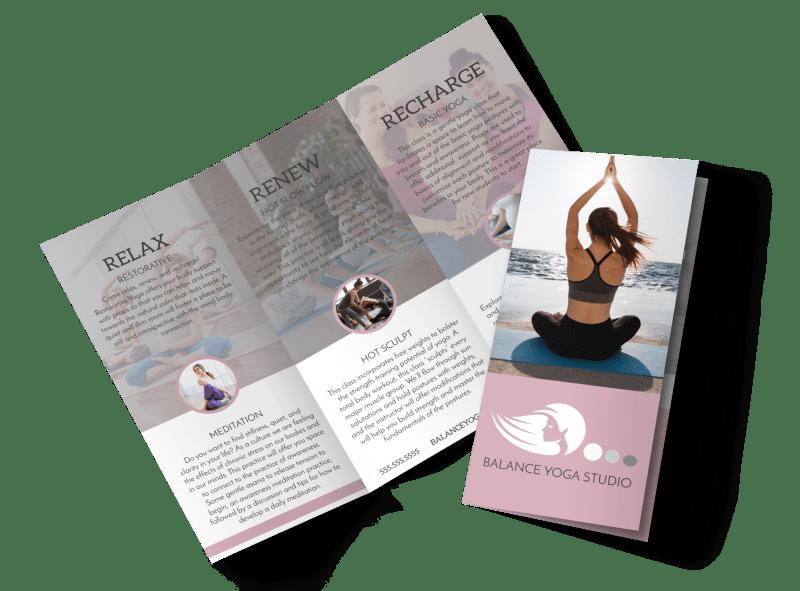 Yoga Class Details Tri-Fold Brochure Template Preview 1