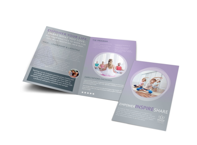 Yoga Teacher Training BiFold Brochure Template MyCreativeShop - Teacher brochure template