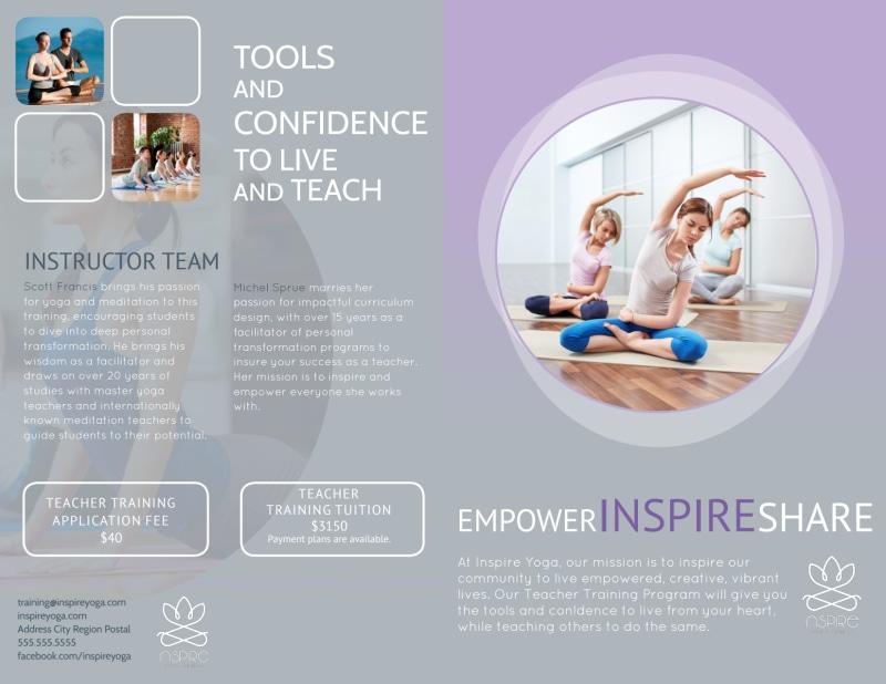 Yoga Teacher Training Bi-Fold Brochure Template Preview 2