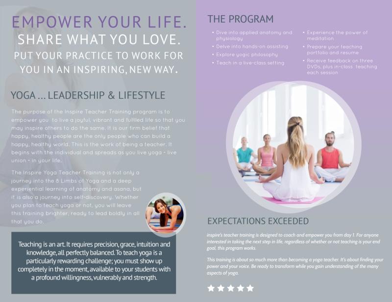 Yoga Teacher Training Bi-Fold Brochure Template Preview 3