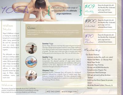 Beautiful Yoga Studio Tri-Fold Brochure Template Preview 2