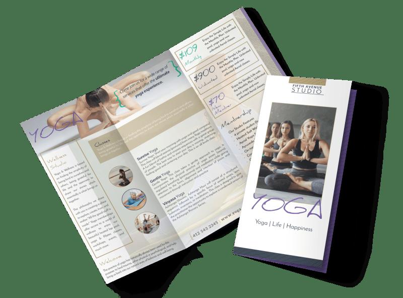 Beautiful Yoga Studio Tri-Fold Brochure Template Preview 1