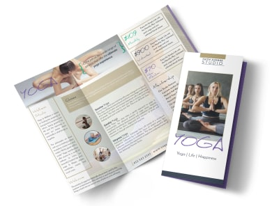 Beautiful Yoga Studio Tri-Fold Brochure Template preview
