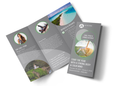 Yoga Retreat Tri-Fold Brochure Template preview
