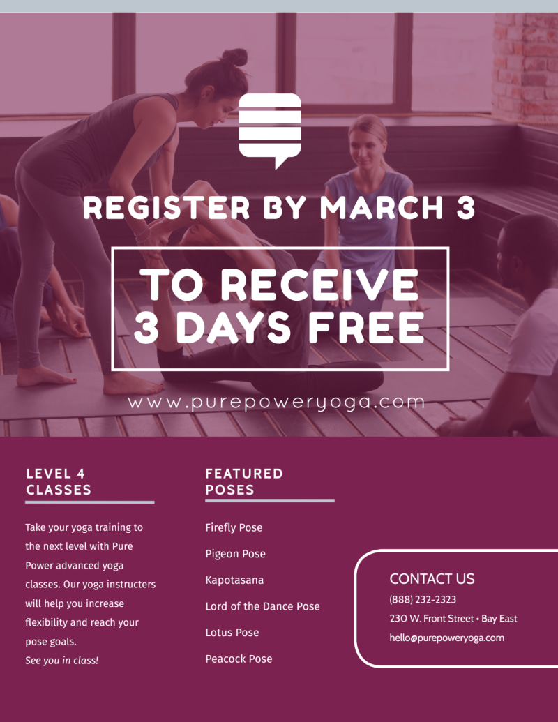 Advanced Yoga Class Details Flyer Template Preview 3