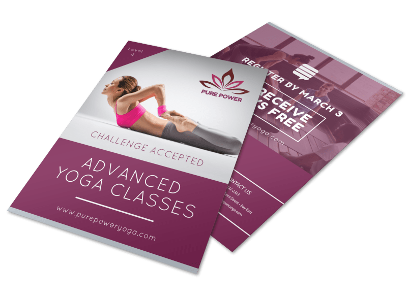 Advanced Yoga Class Details Flyer Template Preview 1