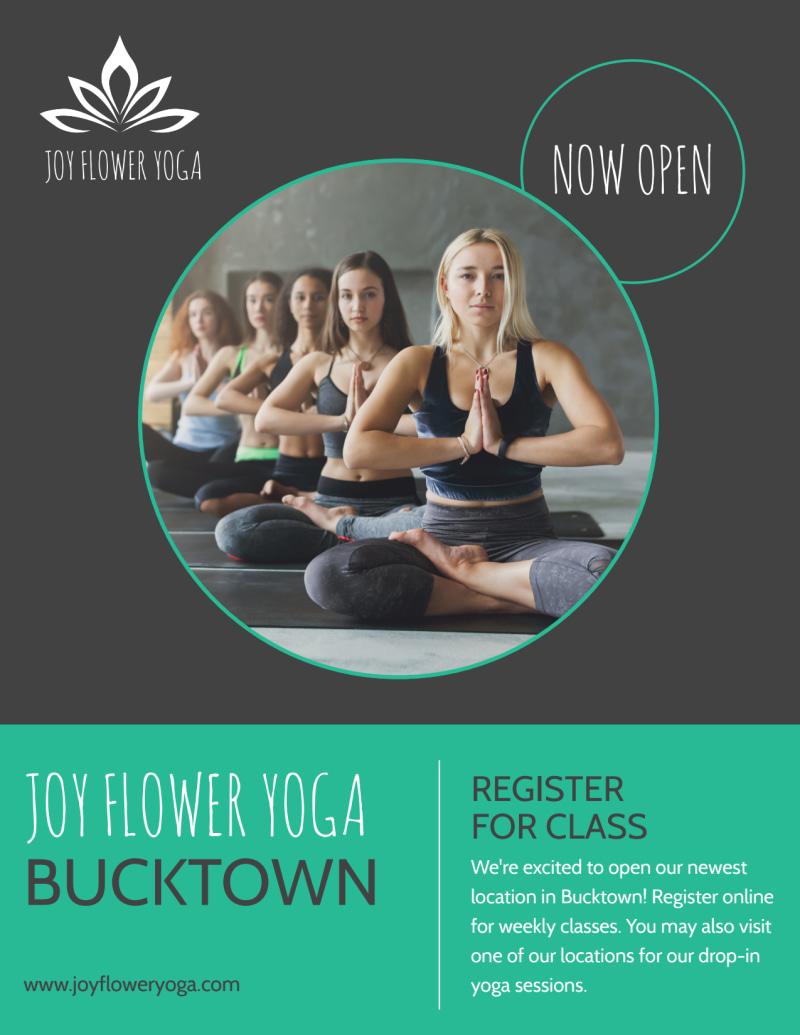 Joy Flower Yoga Studio Flyer Template Preview 2