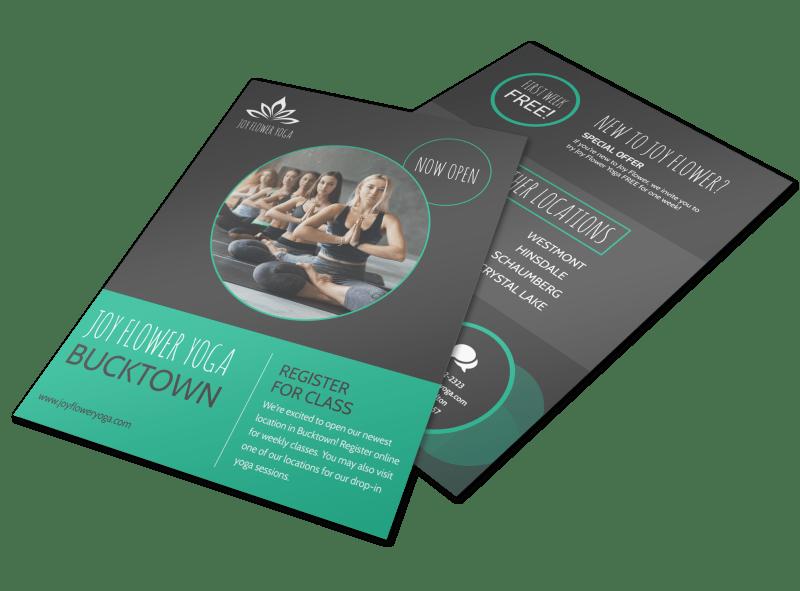 Joy Flower Yoga Studio Flyer Template Preview 1