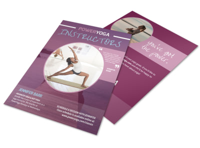 Power Yoga Instructor Info Flyer Template preview