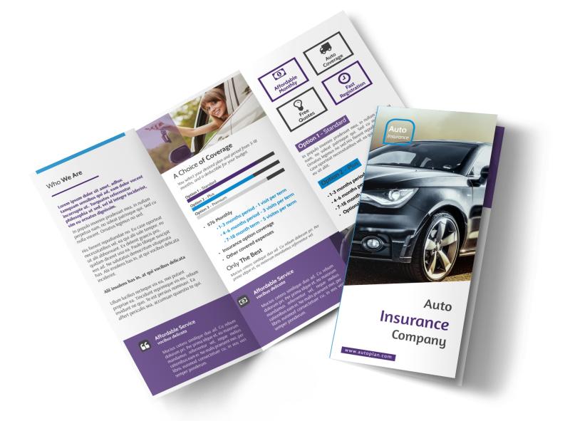 Elite Auto Insurance Tri-Fold Brochure Template