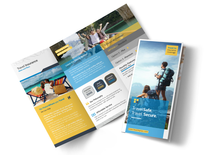 Travel Insurance Plan Tri-Fold Brochure Template