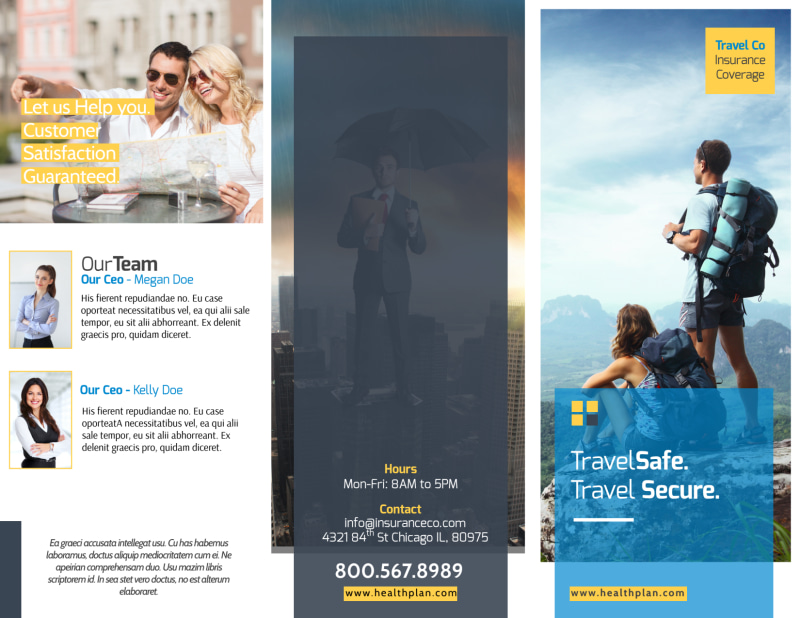 Travel Insurance Plan Tri-Fold Brochure Template Preview 2