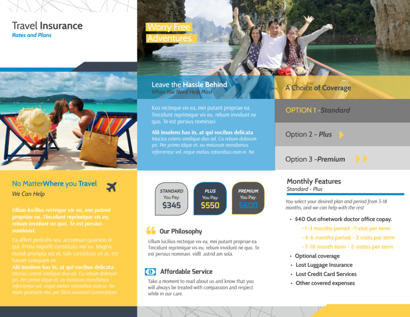 Travel Insurance Plan Tri-Fold Brochure Template Preview 3