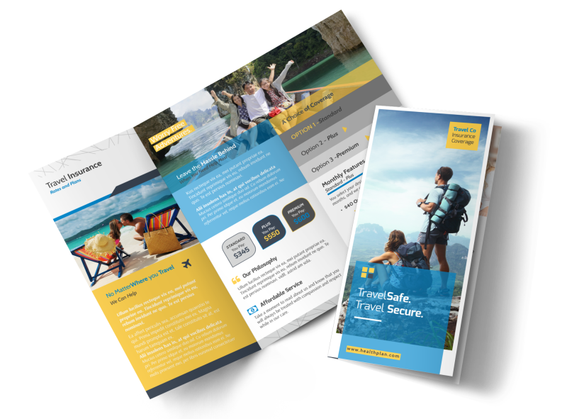 Travel Insurance Plan Tri-Fold Brochure Template Preview 1