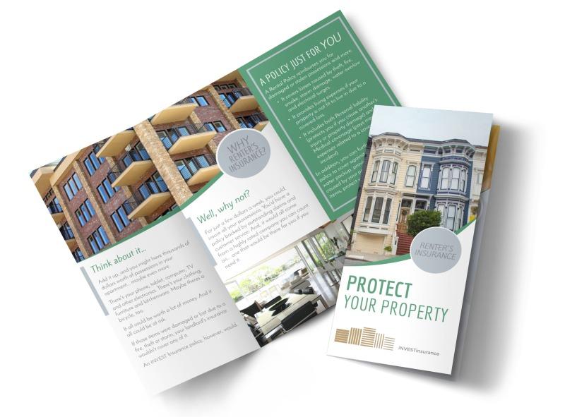 Renters Insurance Tri-Fold Brochure Template