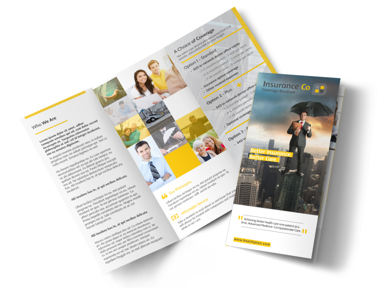 about our insurance agency tri fold brochure template