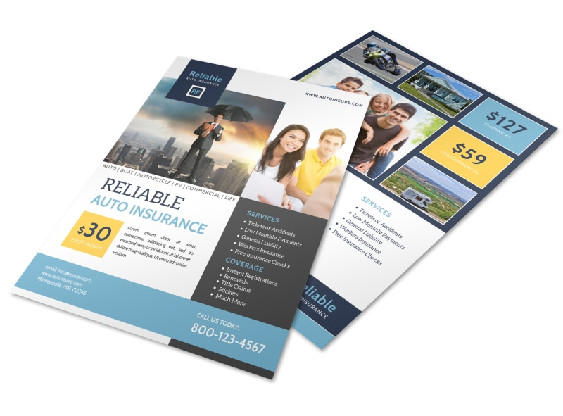 Professional Auto Insurance Flyer Template Preview 4