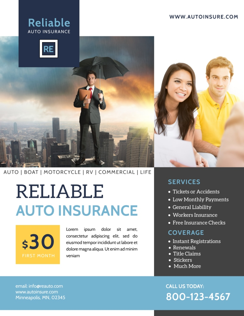 Professional Auto Insurance Flyer Template Preview 2