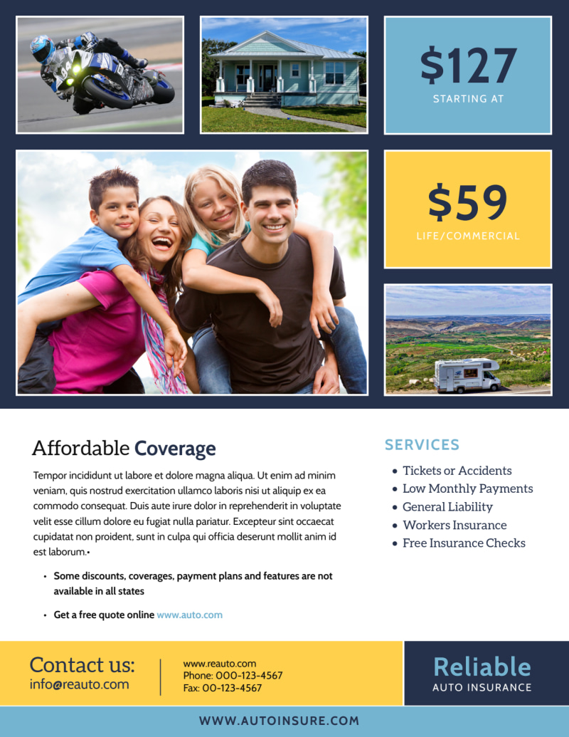 Professional Auto Insurance Flyer Template Preview 3