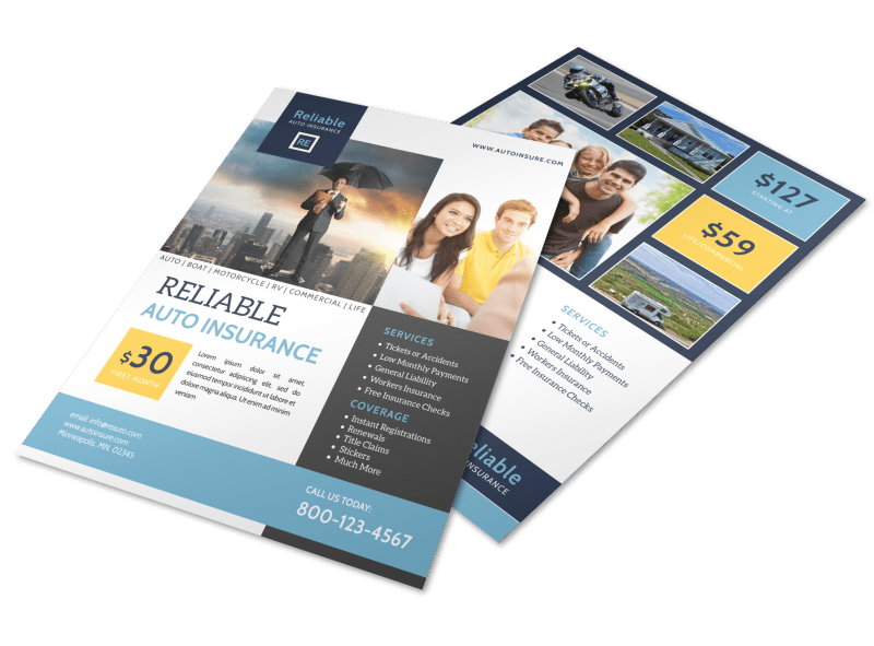 Professional Auto Insurance Flyer Template Preview 1