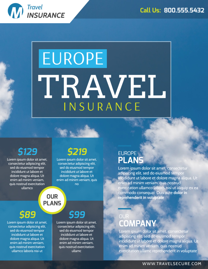 Europe Travel Insurance Flyer Template Preview 2
