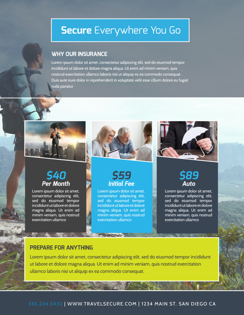 Europe Travel Insurance Flyer Template Preview 3