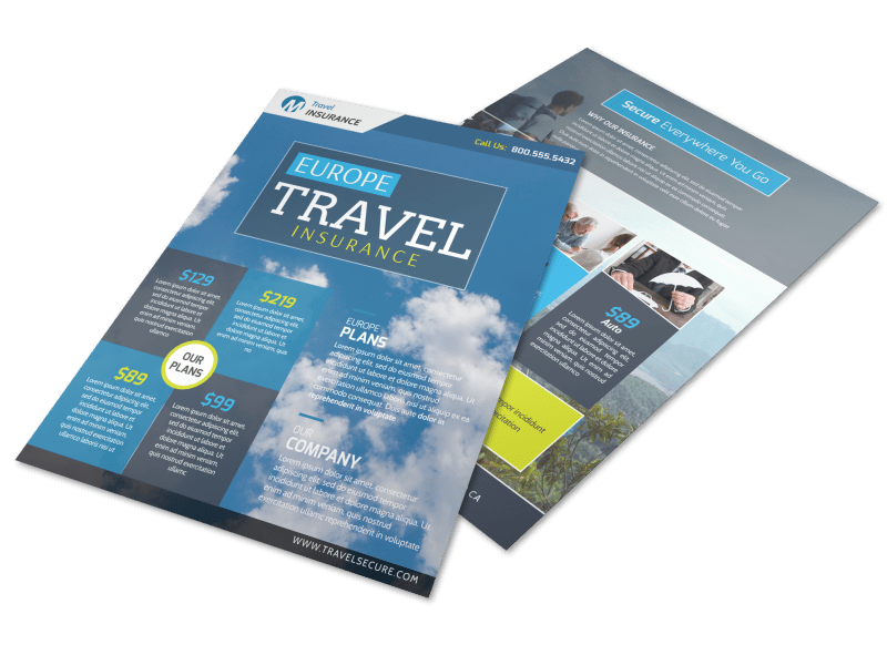 Europe Travel Insurance Flyer Template Preview 1