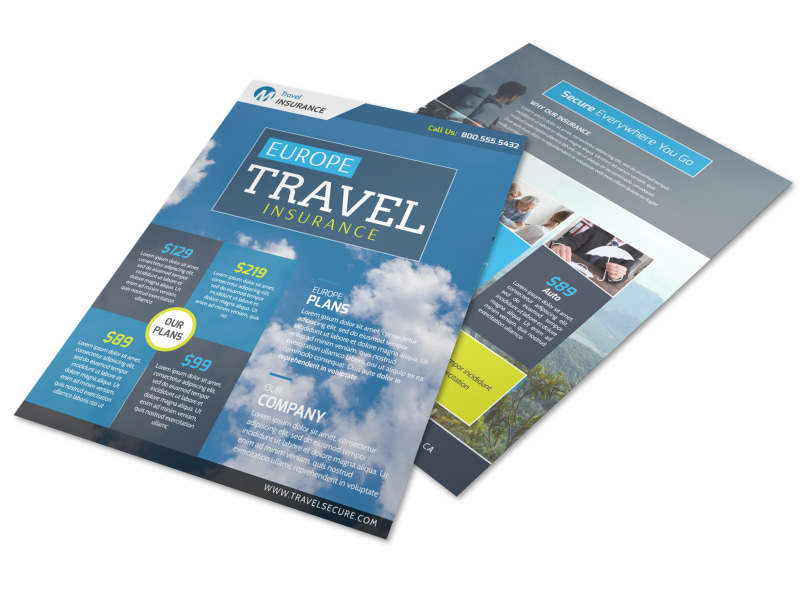 Europe Travel Insurance Flyer Template Preview 4