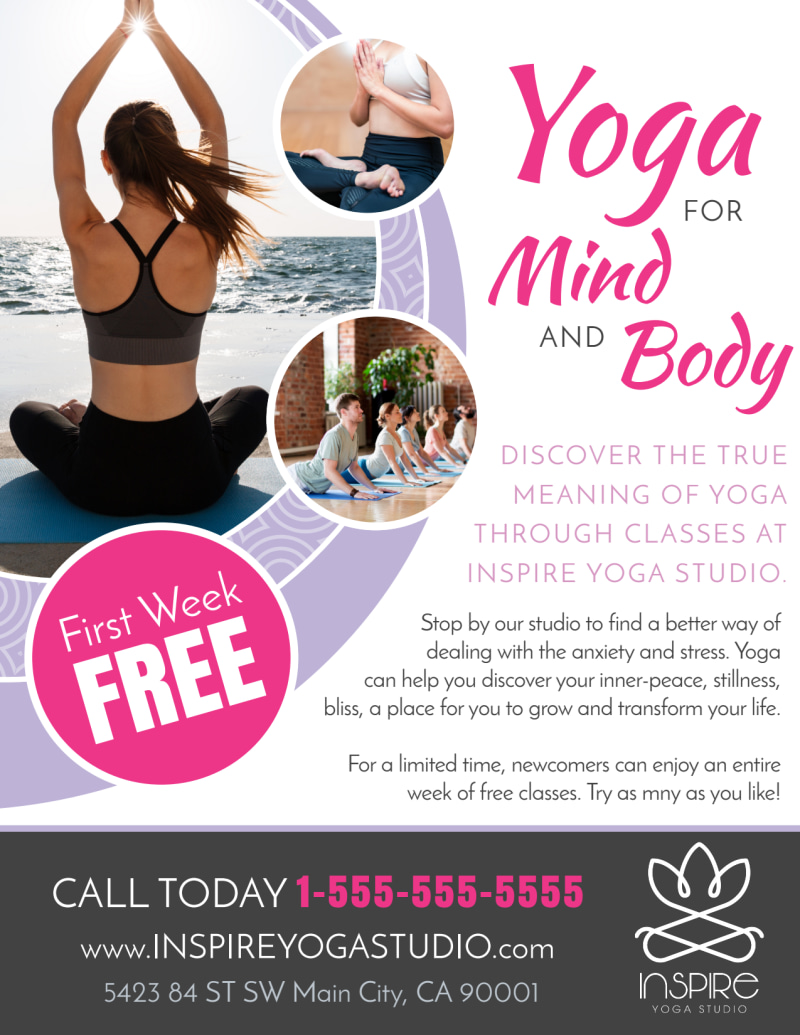 Mind & Body Yoga Studio Flyer Template Preview 2