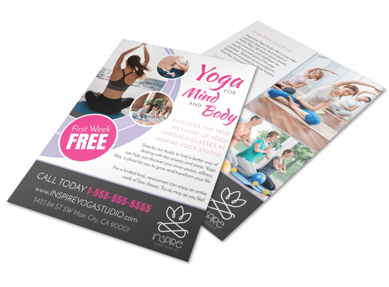 Mind & Body Yoga Studio Flyer Template Preview 1