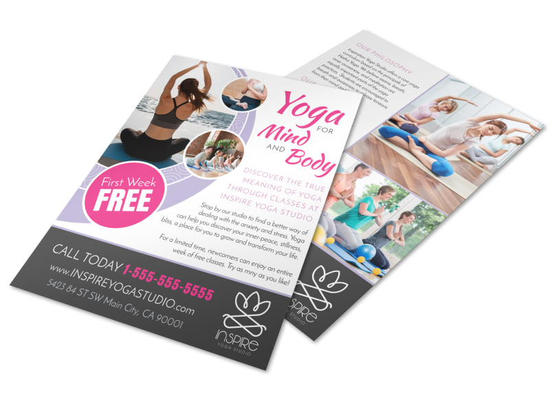 Mind body yoga studio flyer template mycreativeshop for Yoga brochure templates