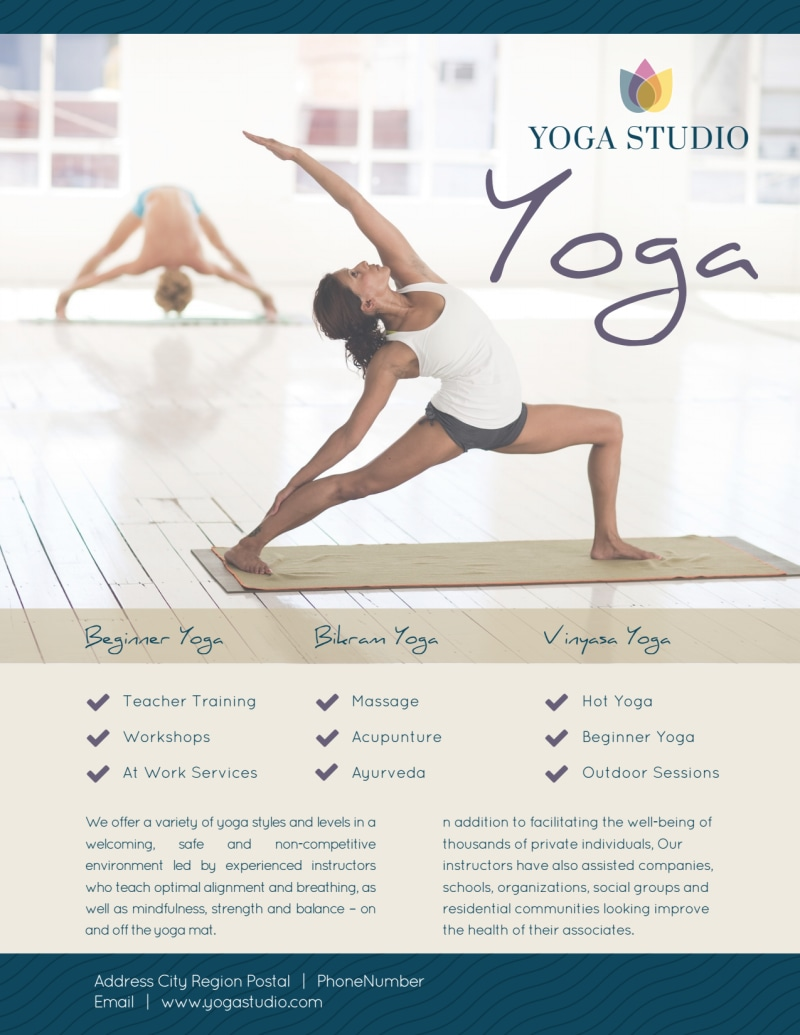 Yoga Class Details Flyer Template Preview 3