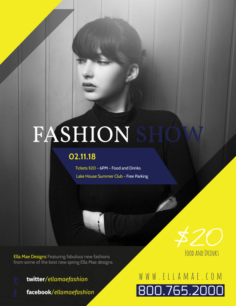 Yellow Fashion Show Flyer Template Preview 2