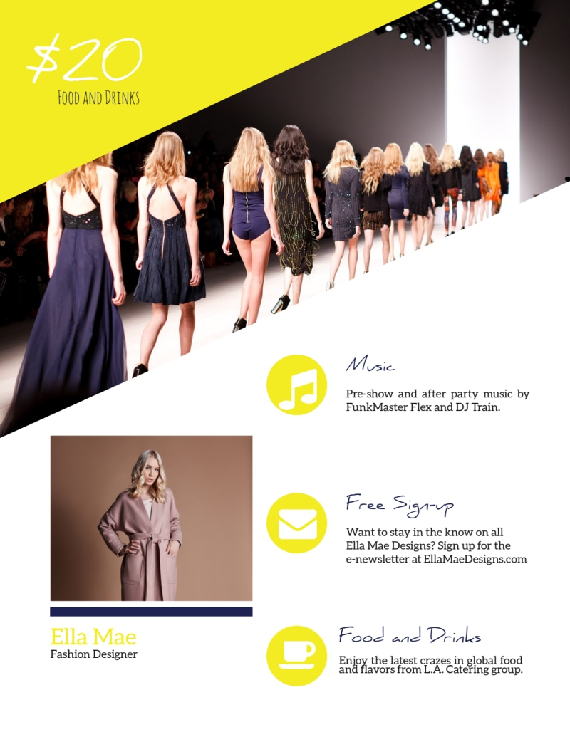 Yellow Fashion Show Flyer Template Preview 3