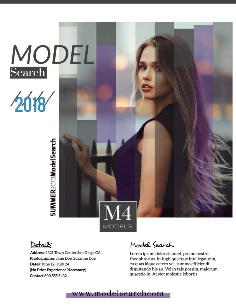 Fashion Model Search Flyer Template Preview 2