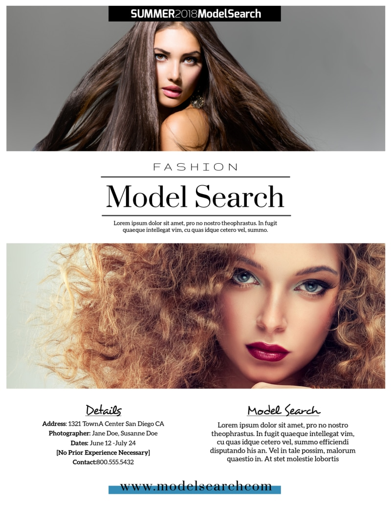 Fashion Model Search Flyer Template Preview 3