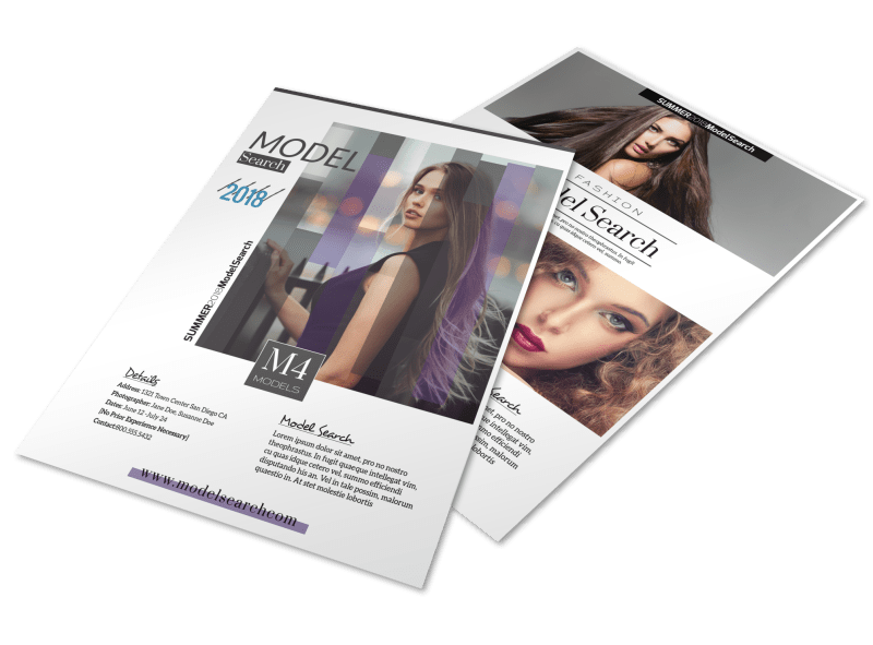 Fashion Model Search Flyer Template Preview 1