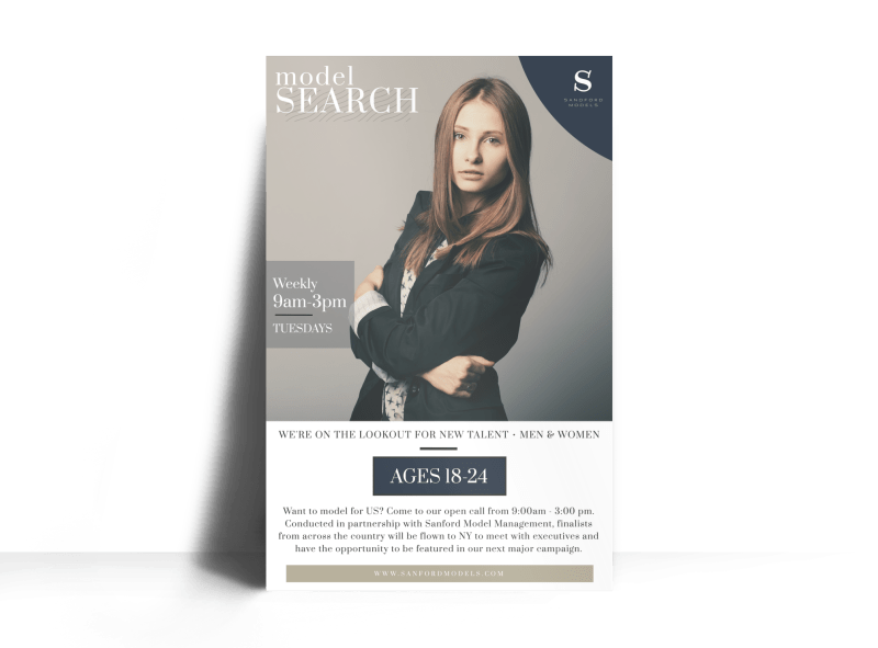 Fashion Model Search Poster Template Preview 1